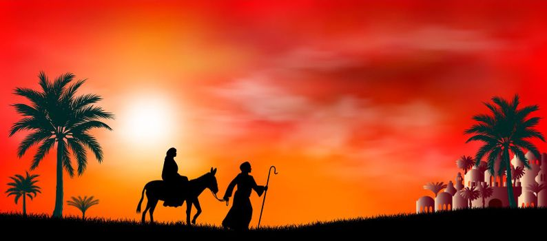 Virgin Mary and Joseph at sunset. Their journey. Desert, sun, city of Bethlehem. Biblical scene on the eve of the birth of Jesus. Christmas.