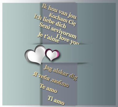 I love you text in different Europian languages