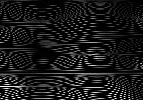 Abstract white wave lines pattern on black background and texture with lighting. Vector illustration
