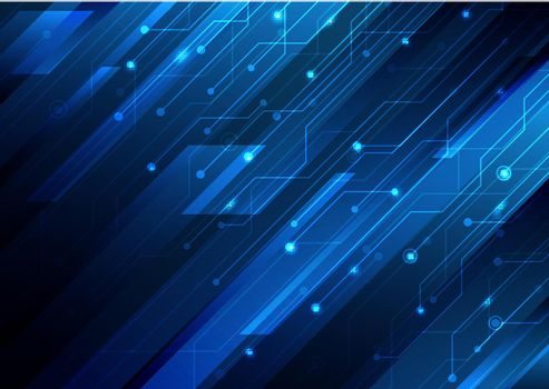 Abstract blue diagonal stripes and circuit on dark blue background technology digital futuristic concept. Vector illustration