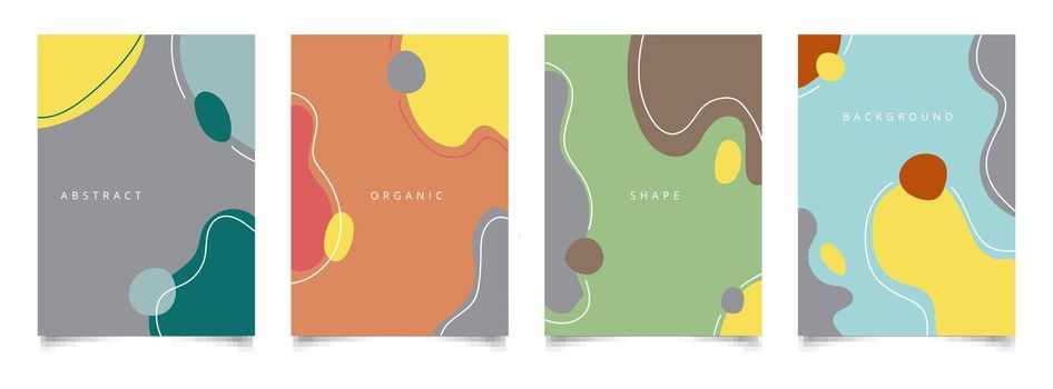 Set of abstract creative background organic shape with line minimal trendy style. Vector illustration