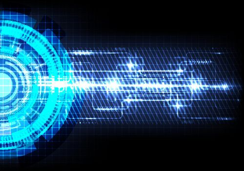Abstract futuristic transfer digital data network to center concept. Blue circle hi speed internet technology background. Vector illustration
