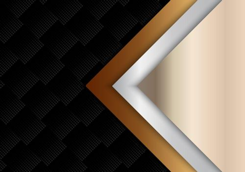 Abstract template geometric gold, silver metallic shiny luxury style on black halftone pattern background and texture. Vector illustration