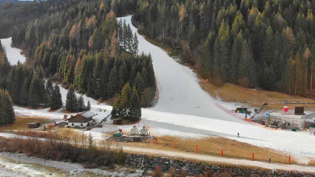Auronzo Valley and Ski Slopes in winter season, Italian Alps