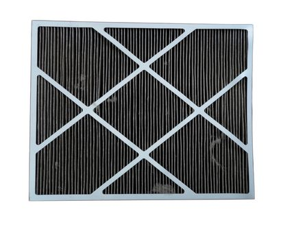 Dirty air filter from home air conditioner isolated on white
