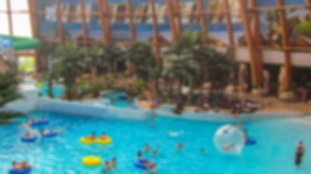 Blur with bokeh elements in a creative story on the theme of recreation in a water Park. Stock photo for backgrounds.