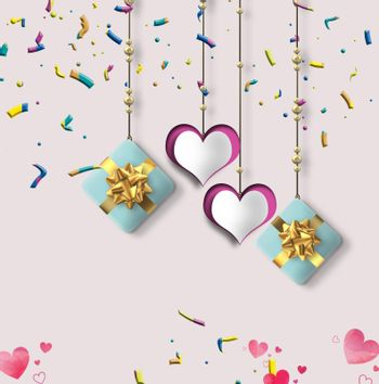 Love card with hanging hearts, gift boxes, confetti on pastel pink background. 3D illustration