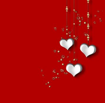Love card with hanging paper hearts on red background, gold confetti. 3D illustration