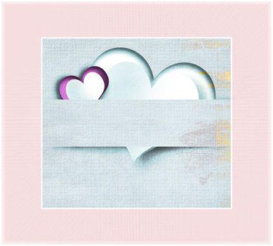 Grunge vintage Valentines card with hearts wooden texture. Valentine love template. 3D illustration