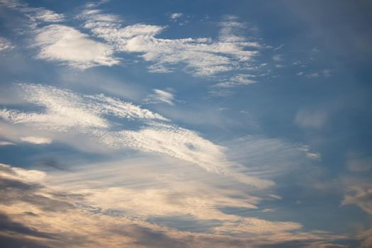 blue sky background with white clouds. Natural composition of nature.