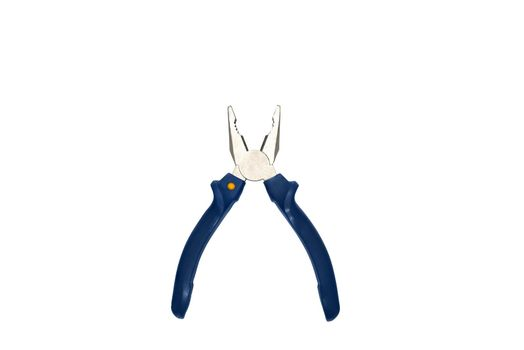 Combination pliers with blue grasp on a white background