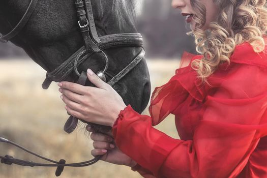 love for animals. young Woman with no face dressed in an elegant vintage dress, gently cuddling a horse, stroking his head.