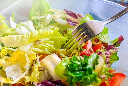 Healthy natural breakfast for a dietary lifestyle , vegetable salad