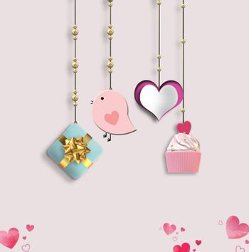Valentine's card. Hanging heart, gift box, cup cake on pink background. 3D illustration