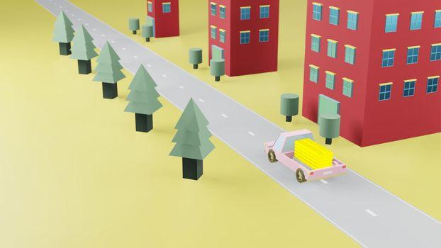 Truck transport stack fine gold bar on road 3d render