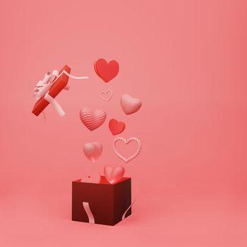 Beautiful heart sharp float from open gift box