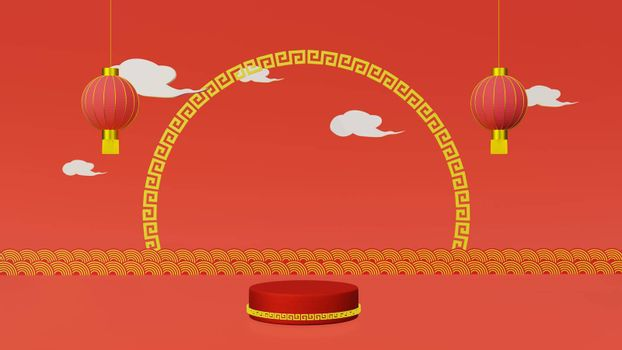 Red podium with golden girdle and lamp Chinese new year