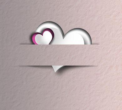 Elegant love Valentines card, pink hearts in paper strip on old paper pastel pink background. Pretty elegant Valentine day, birthday, love design. 3D render