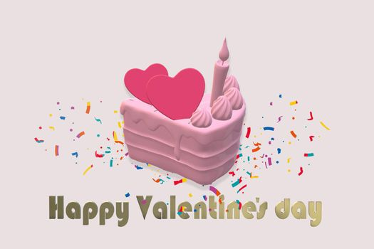 Hearts on cupcake, confetti, on pink background. Gold text Happy Valentines day. Valentines day, love, birthday card. 3D render