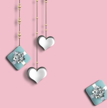 Pretty love card, Valentines card with hanging hearts. gift boxes on pink background. 3D Illustration