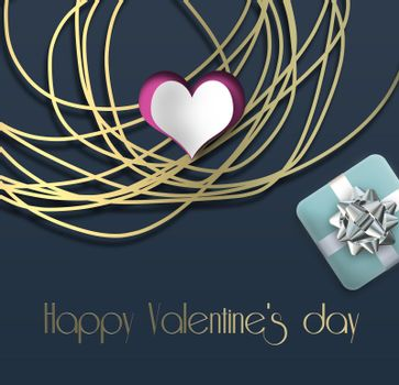 Abstract heart, gold frame neckless, gift box on dark blue background. Text Happy Valentines day. Love, Valentines card design. 3D rendering