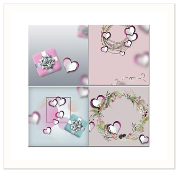 Love card, Valentines collage in pastel pink colour. Pink paper hearts, gift box, floral wreath. Elegant love card. 3D rendering