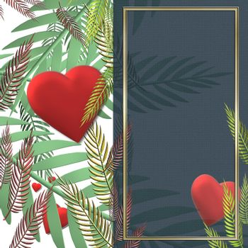 Love card design of red hearts, exotic tropical leaves, copy space. Summer, spring, love, Valentines or ecology concept. Copy space, place for text. 3D render