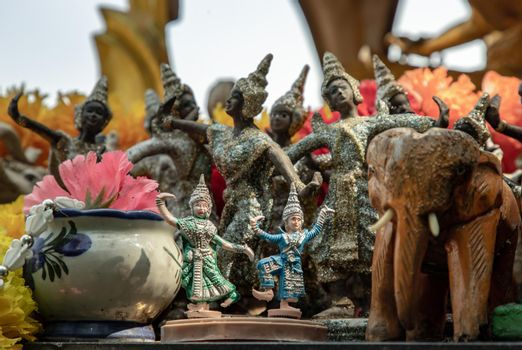 Thai dancing dolls and Wooden elephant doll in The Thao Maha Phrom Shrineis.