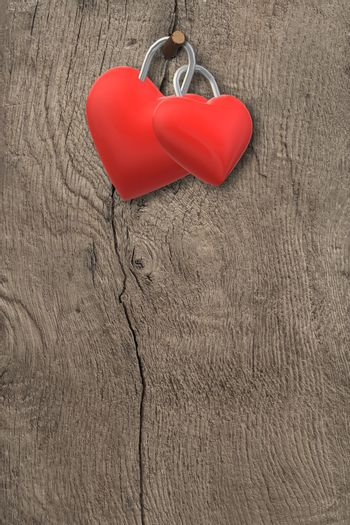 Two hearts locked together on grunge wooden background. Eternal love, love forever, Valentines, marriage, invitation design