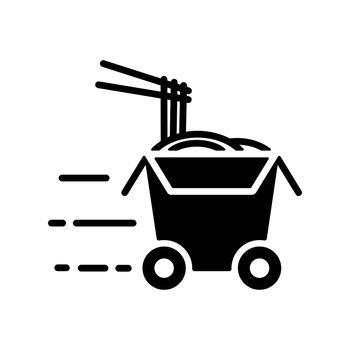 Wheeled wok box vector glyph icon