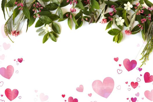 Fresh border of flowers, top view on white background with pink hearts. Design frame for Valentines, marriage, birthday, 8 March, mothers day, invitation, Easter