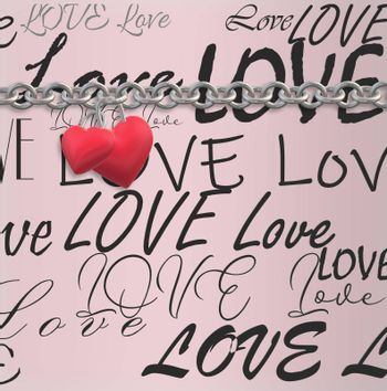 Two linked hearts hanging on chain on pink background with text love. Valentines card, love design, couple concept. 3D rendering