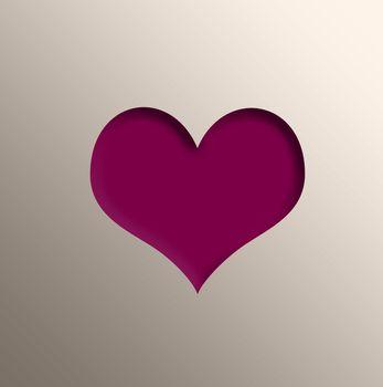 Heart on gold foil. Valentine day, love design card. 3D illustration