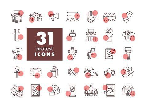 Protest, strike, revolution set vector icons