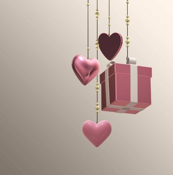 3D pink hearts, gift box on pastel pink background. Hanging symbols of love. Valentine's, birthday, mothers day, 8th March design. 3D illustration
