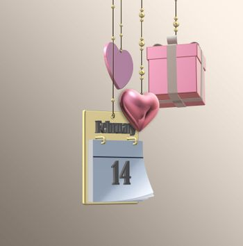 Valentine love card with hanging 3D hearts, gift box, calendar, 14th February on pastel pink background. Love, happy Valentines day design. 3D illustration