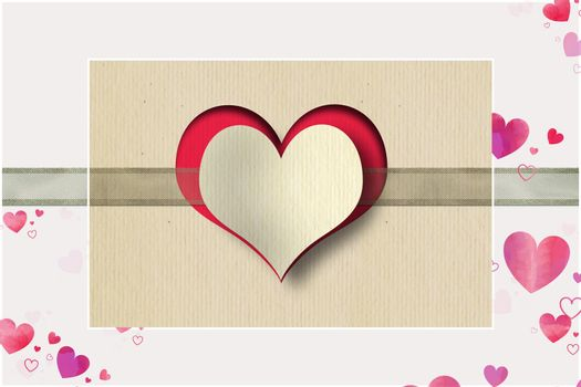 Heart, ribbon on pink background. Love, Valentines, wedding design. Paper heart on organza ribbon on vintage background. Copy space, place for text. 3D illustration
