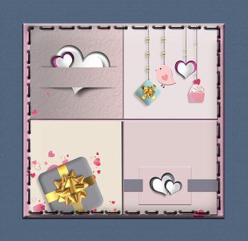 Modern love collage for Valentine, wedding birthday card. Pastel Vintage collection. 3D illustration