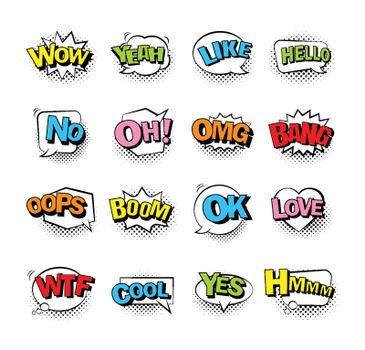 Comic bubble speech with halftone shadow and text. Comic sound effect collection set.