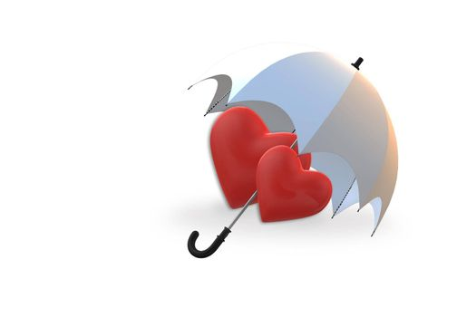 Two red hearts under umbrella on white background. Isolated symbol of love, Valentines day, relationship. 3D illustration
