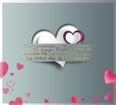 I love you text in different European languages. Paper hearts in paper strip and I love you gold text on green pastel background. 3D illustration