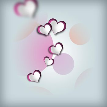 Romantic love design, hearts on pastel background. Love, Valentines card in abstract elegant style. 3D illustration