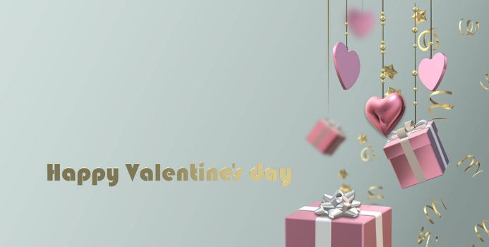 Pink hanging hearts, 3D gift boxes, confetti on pastel background. Valentines, Love, party invitation, mothers day, 8th March, wedding, greeting card. Gold Text Happy Valentines day. 3D illustration