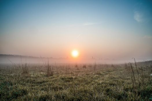 A reddish sunrise on a foggy morning in a field with grasses and dew