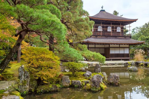 Japanese templae and zen garden for relaxation balance and harmony spirituality in Kyoto,Japan