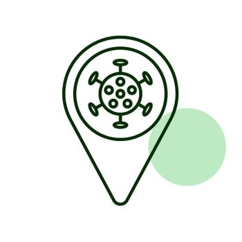 Map pointer, pin map and corona virus vector icon. Medical sign. Coronavirus. Graph symbol for medical web site and apps design, logo, app, UI