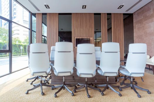 Interior of modern meeting room and conference room in office business building for business corporation and teamwork concept