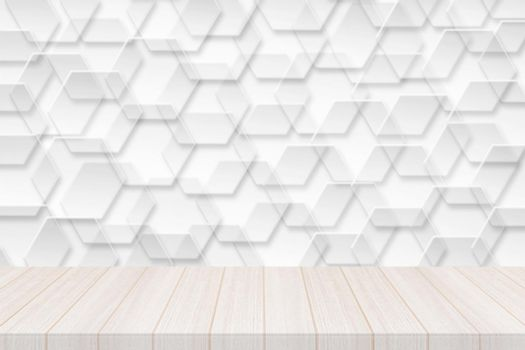 Perspective white wood table top with hexagonal banner with transparency Background