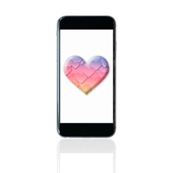 Smartphone with colourful heart symbol on screen. Elegant Design for love, valentine and wedding concept