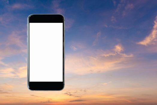 Smartphone with blank white screen and copy-space on beautiful sky background. Elegant Design with Copy Space for placement your background,Template mock up for montage your design and products